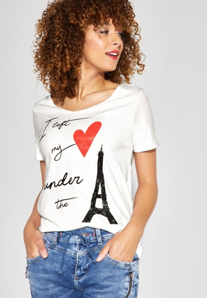 Street One - T-Shirt mit Wording Print in Off White