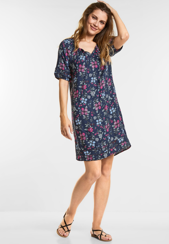 Gutscheincode schnelle Farbe herausragende Eigenschaften CECIL - Cooles Blumen-Print Kleid in Deep Blue