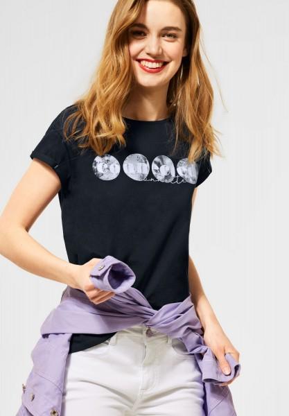 Street One - T-Shirt mit Partprint in Deep Blue