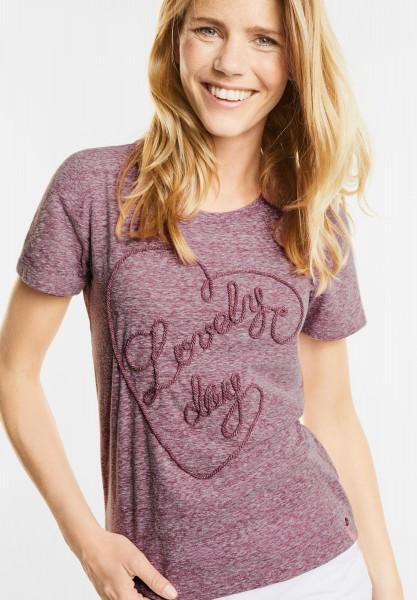 CECIL - Melange Herz Shirt in Deep Pink Melange
