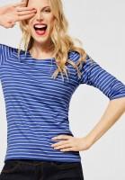 Street One - Shirt mit Streifen in Warm Blue