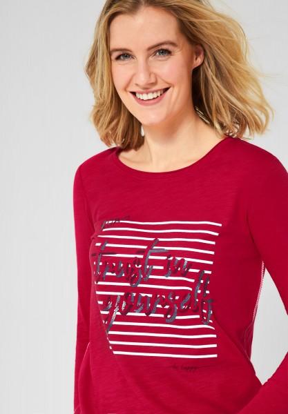 CECIL - Langarmshirt mit Schrift in Tomato Red
