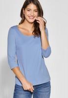 Street One - Schmales Basic Shirt Pania in Heaven Blue