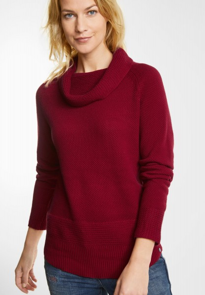 CECIL - Pullover mit Volumenkragen in Cranberry Red