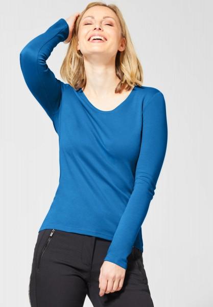 CECIL - Basic Langarmshirt Pia in Vivid Blue