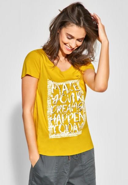 CECIL - T-Shirt mit Wording Print in Ceylon Yellow