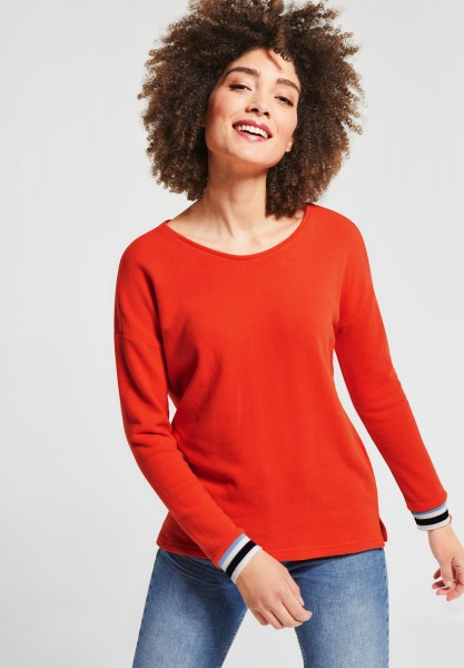 Street One - Shirt mit Kontrastdetail in Hot Orange