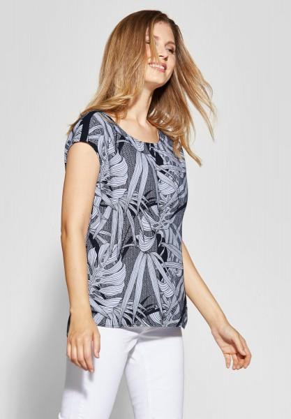 CECIL - Shirtbluse mit Blätterprint in Deep Blue