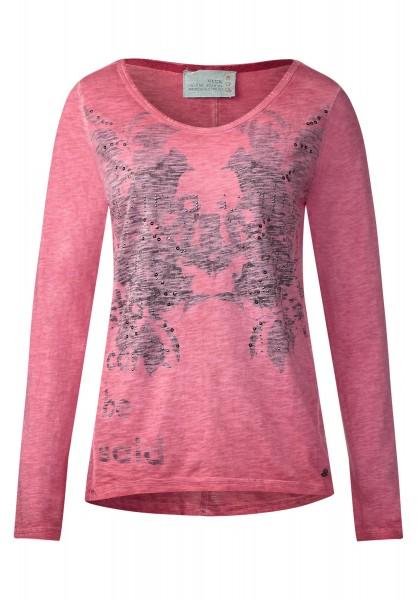 CECIL - Langarmshirt mit Frontprint Raptured Pink