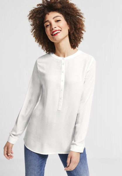 Street One - Longbluse mit Knopfleiste in Off White