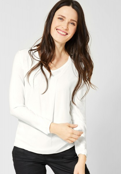 CECIL - Shirt in 2in1 Optik in Pure Off White
