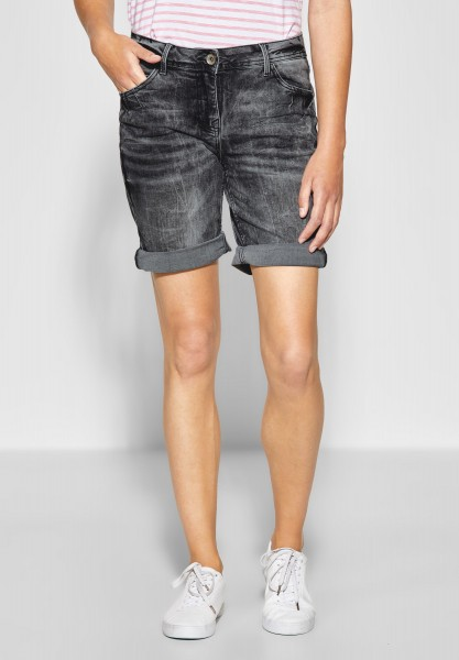 CECIL - Graue Denim Shorts Scarlett in Grey Used Wash