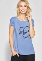Street One - Frontprint Shirt mit Wording in Heaven BlueStreet One - Frontprint Shirt mit Wording in Heaven Blue