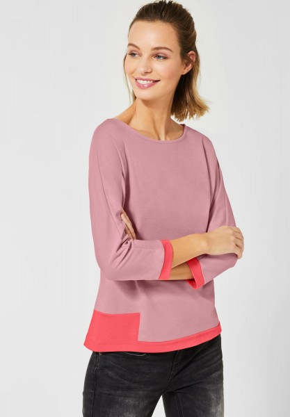 Street One - Shirt mit Colourblock in Orchid Rose Melange