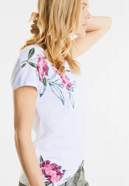 CECIL - Shirt mit tropischen Blüten in White