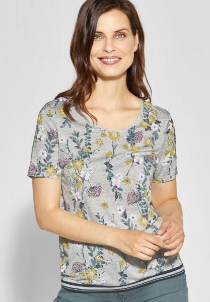 CECIL - Shirt mit Blumenprint Joline in Light Tin Melange