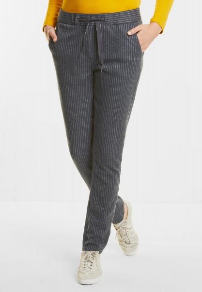 CECIL - Weiche Streifen-Joggpants in Dark Silver