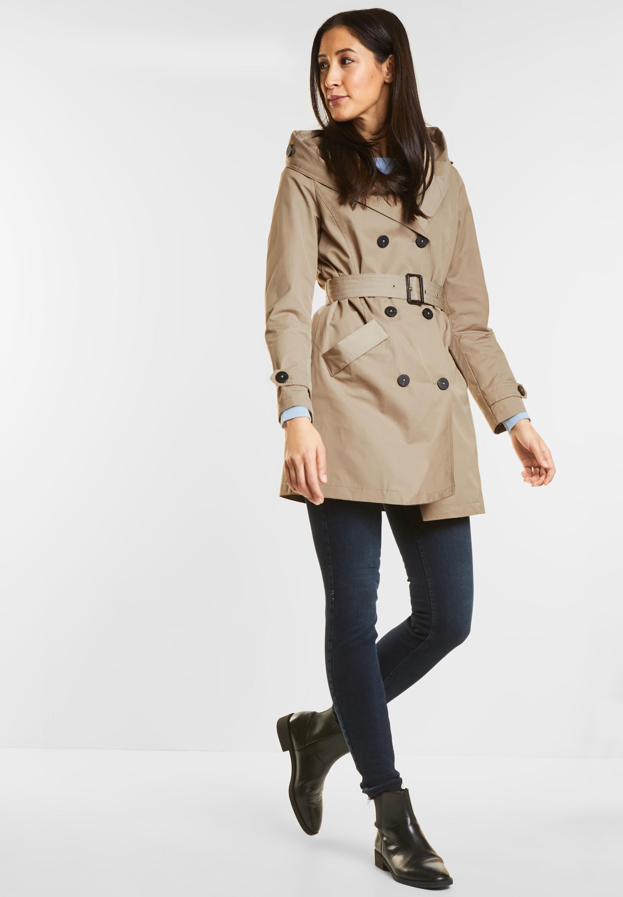 best loved 7d42d 7bc12 Street One - Trenchcoat mit Kapuze in Dusty Sand