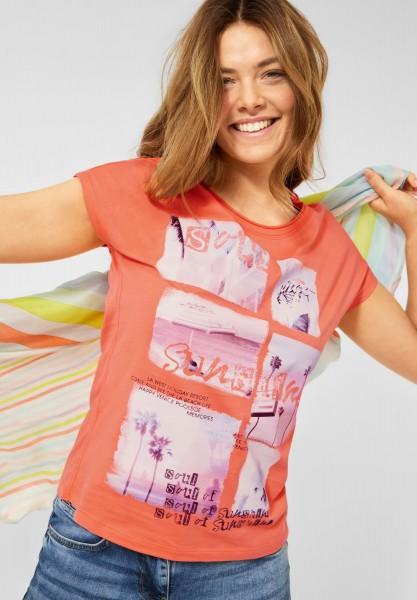 CECIL - T-Shirt mit Fotoprint in Fresh Coral