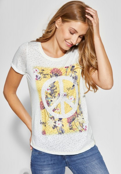 CECIL - T-Shirt in Burn-Out Optik in Ceylon Yellow