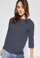 CECIL - Struktur Shirt mit Streifen in Deep Blue