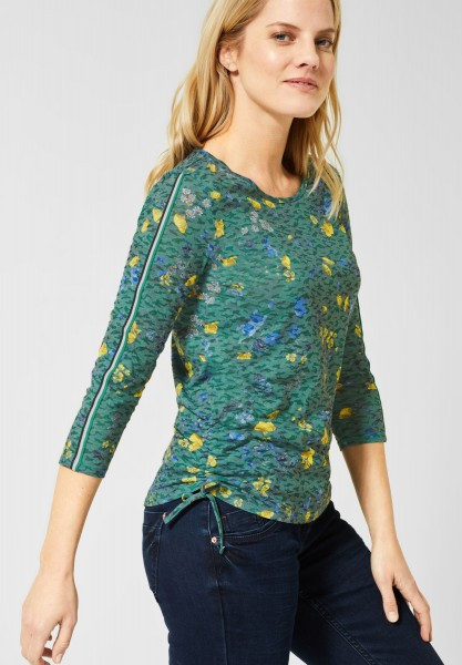 CECIL - Shirt mit Burn-Out Blumen in Lucky Clover Green