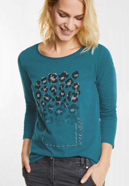 CECIL - Shirt mit Animal Frontprint in Aqua Tonic Blue