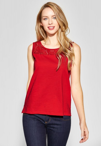 Street One - Ärmelloses Shirt mit Spitze in Vivid Red