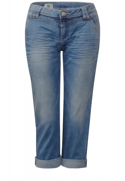 Street One - Lockere Capri Denim Kate in Blue Indigo Random Bleach Wash
