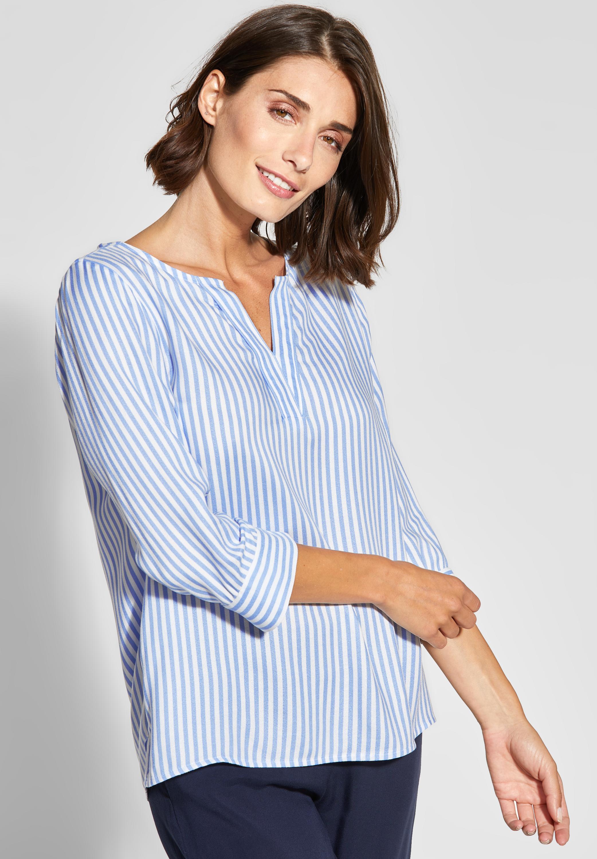 bfd87f348ab5a9 Streifen-Bluse mit V-Neck in Heaven Blue von Street One online kaufen