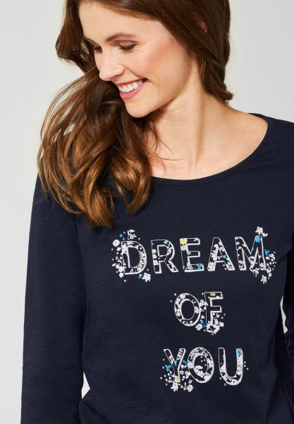 CECIL - Shirt mit Wording-Print in Deep Blue