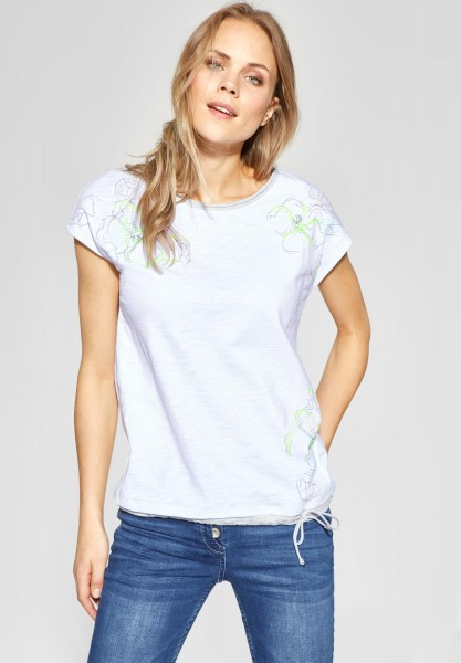 CECIL - Flower-Print Shirt in White