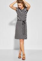Street One - Jersey-Kleid mit Streifen in Black