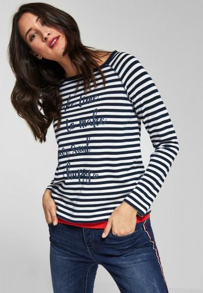 Street One - Streifen Shirt mit Wording in Deep Blue