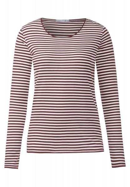 CECIL - Weiches Streifenshirt Lucy Maroon Red