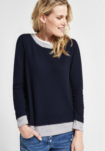 CECIL - Sweatpullover in 2in1 Optik in Deep Blue