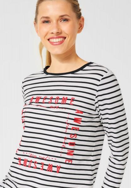 CECIL - Streifen-Shirt in Pure Off White