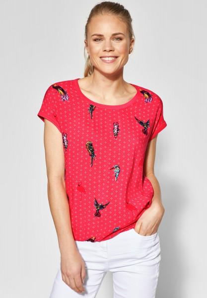 CECIL - Mat-Mix Shirt mit Vogelprint in Neo Coralline Red
