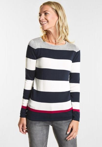 CECIL Block Streifen Pullover in Deep Blue