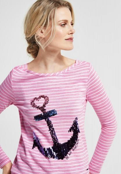 CECIL - Shirt mit Pailletten in Bubblegum Pink Melange