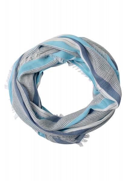 CECIL - Struktur Streifen Loop in Blue Topaz