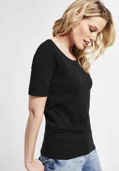CECIL - Organic Halbarmshirt Lena in Black