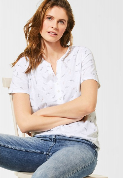 CECIL - T-Shirt mit Federmuster in White