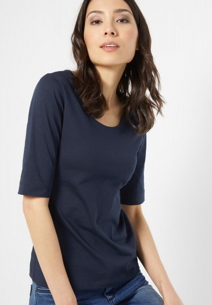 Street One - Organic Halbarm Shirt Lenka in Night Blue