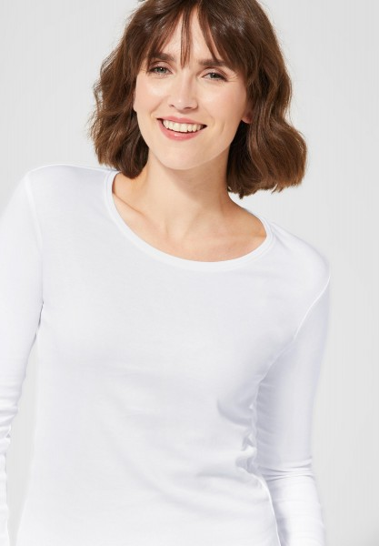 CECIL - Basic Langarmshirt Pia in White