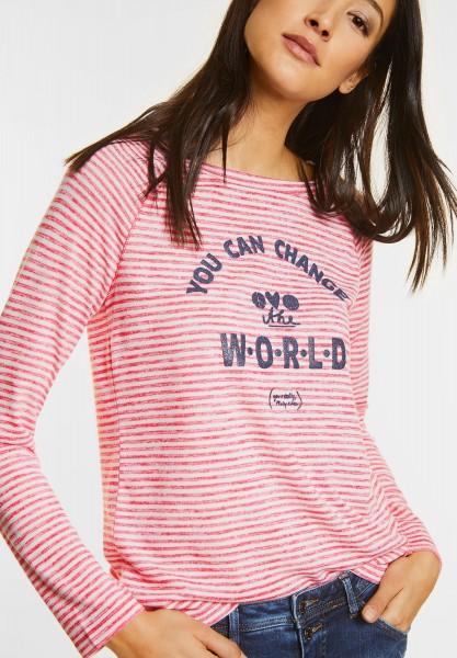 Street One - Streifenshirt mit Wording in Colada Pink