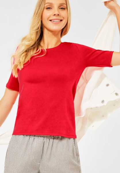CECIL - T-Shirt in Unifarbe in Poppy Red