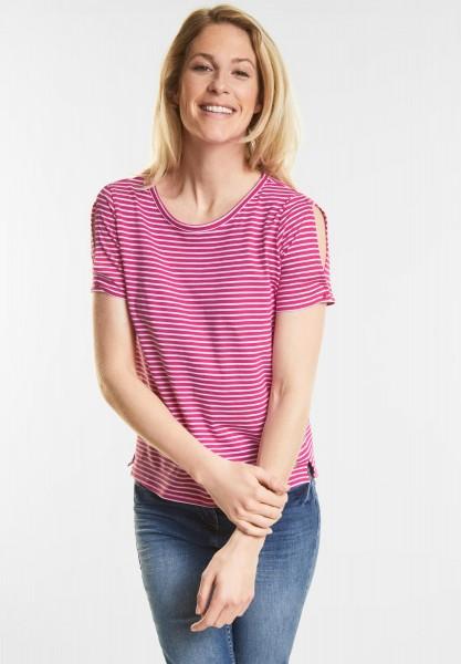 CECIL - Cold Shoulder Streifen Shirt in Galaxy Pink