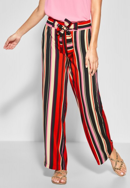 Street One - Wide Leg Hose mit Streifen in Vivid Red