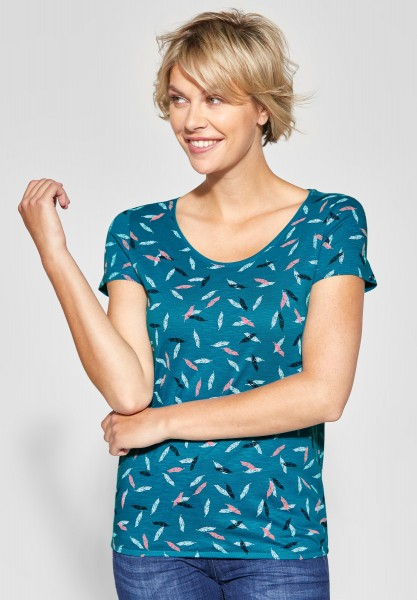 CECIL - Shirt mit Federprint Inja in Cool Lagoon Blue